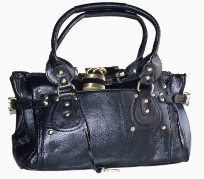 Black LEATHER Paddington Padlock Handbag Shoulder Bag + FREE Jet Black Pashmina Style Wrap!