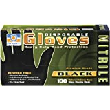Permatex 08184 Medium Black 5 mil Disposable Nitrile Gloves, Box of 100