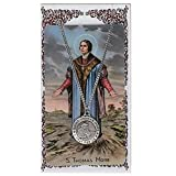 img - for Saint St Thomas More 3/4-inch Pewter Medal Pendant Necklace with Holy Card book / textbook / text book
