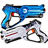 Laser Tag Set for Kids Outdoor Games and Indoor Toys. Boys and Girls Birthday Party Set - 2 Blasters (1 Blue / 1 White)