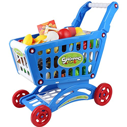 Coolplay-CP1301-Extra-Large-Shopping-Cart-with-Full-Grocery-Food-Toy-for-Kids-Blue