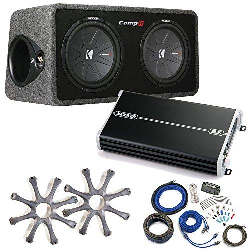 Kicker Comp R Sub Box 40DCWR122 + Kicker 1500 Watt Amp Package w/ Grilles & Kit (Type R 12 Sub Box compare prices)