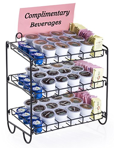 K-Cup 3-Tiered Storage Display Shelf Holds Up To 36 K Cups, Black Steel Wire Rack, Side Rows For Holding Sweeteners - Set Of 2