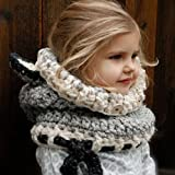 Be Nice Winter Kids Warm Knitted Hat Scarf Earflap Hood Hat Scarves Skull Caps with Ears (Gray)