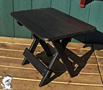 PHAT TOMMY Folding Outdoor Poly Patio Side Table Black