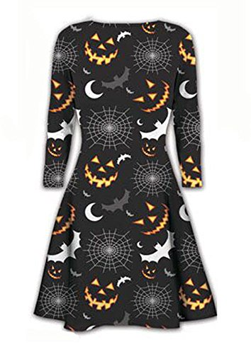 SASA Craze nuovo halloween parrucca da donna manica lunga stampa Swing Skater Dress Plus Size. UK 8 - 22 Bats And Spider Print XL-(48-50)