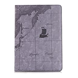 iPad Pro Case,Topchances PU Leather Protective Stand Cover for Apple iPad Pro 12.9 Inch -World Map Pattern (Grey)