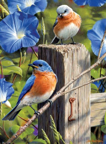 Buffalo Games Hautman Brothers, Garden Gate Bluebirds - 1000pc Jigsaw Puzzle