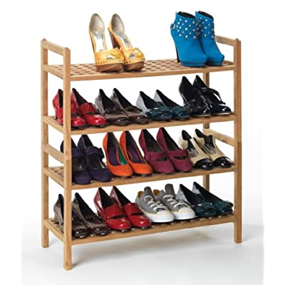 8 Pair Stacking Bamboo Wooden Shoe Rack - Stackable Wood Shoes Shelves