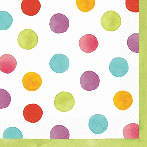 "Amscan Disposable Lunch Paper Napkins in Watercolor Polka Dots (36 Pack), 6.5 x 6.5"", Multicolored"