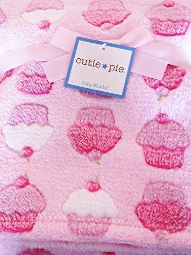 Cutie Pie Pink Cupcakes Baby Blanket - 1