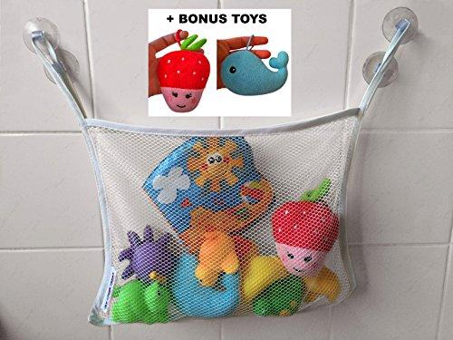 Doccia Organizer per giocattoli, giocattoli per il bagno + doccia giocattoli per bambini - grande borsa di stoccaggio Organizzatore per vasca da bagno Giocattoli + Ventosa giocattoli da bagno resistente con 2 ventose, Bianco, medium (Bianca)