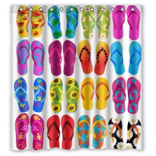 Hot-Sale-Shop-Custom-Waterproof-Polyester-Bathroom-Fabric-Shower-Curtain-decor-66-x-72-Colorful-Beach-Flip-Flops-Print