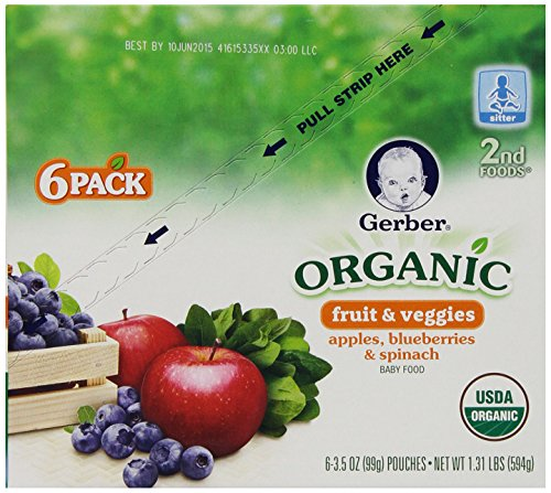 Gerber Organic 2nd Foods Pouches, Apples, Blueberries, Spinach, 3.5 Ounce, 12 count - 1