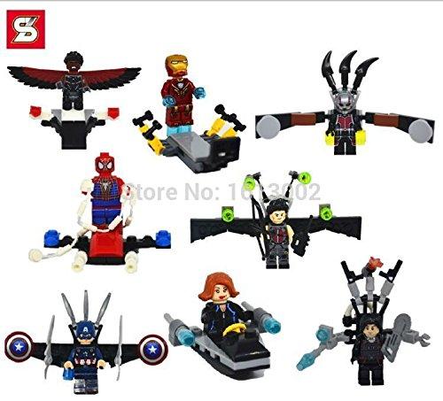 Captain America Iron Man Ant-man Falcon Spiderman Black Widow Marvel DC MiniFigures Toy Super Heroes Series Action Figure Building Blocks Brikcs Set Compatible Lego