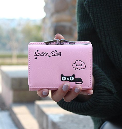 ec33a7b7136 Pink - Cute Cat Short Vintage Womens Wallet Small Clutch Wallet Hand purse  For Womens Women's Girls ...