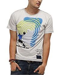 Chlorophile Men's Round Neck Cotton T-Shirt (Reb_Ash Grey_Small)