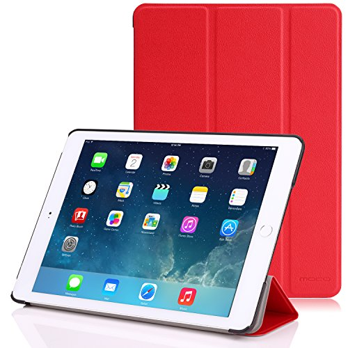 Apple iPad Air 2 Case - MoKo Ultra Slim Lightweight Smart-shell Stand Cover Case for Apple iPad Air 2 (iPad 6) 9.7 Inch iOS 8 Tablet, RED (with Smart Cover Auto Sleep / wake)