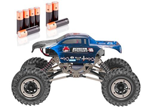 Redcat Racing Silver Bundle - Everest-16 Electric Rock Crawler with 2.4Ghz Radio Control (1/16 Scale), 4WD, Blue - PLUS - 8 AA Alkaline Batteries