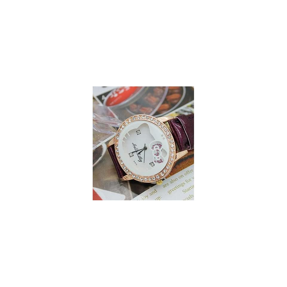 Miss Peggys   Cute Hello Kitty Fashion Diamante Wrist Watch W105 Purple and a Hello Kitty NecklaceSHIPS SAME DAY ORDERED