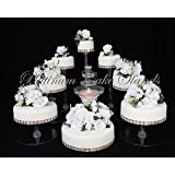 PLATINUMCAKESTAND 8 Tier Cascade Wedding Cake Stand with Fountain Set (STYLE R801) (Color: Clear)