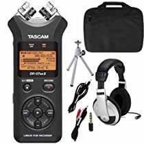 Tascam DR-07 MKII Portable Digital Recorder with Case, Headphones, Tripod and Cables