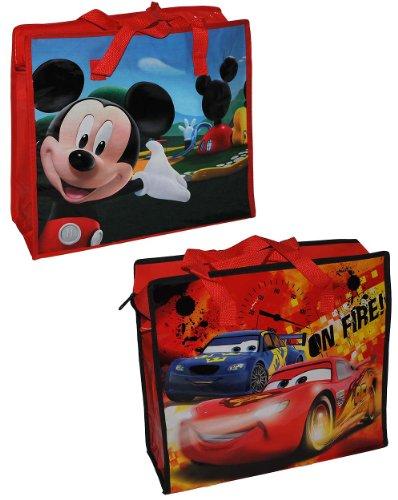 1 Stk. Shopper / Tragetasche / Umhängetasche mit Disney Cars Lightning McQueen - Mickey Mouse - Kindertasche Tasche Stoff Jungen Tragetasche Beutel Einkaufstasche - beschichtet und abwischbar - Strandtasche Reisetasche