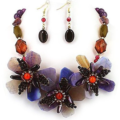 Dark Multi Color Triple Flower Statement Necklace and Earrings Set