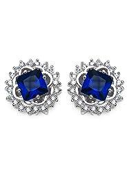 4.20 Grams Blue & White Cubic Zircon .925 Sterling Silver Earrings