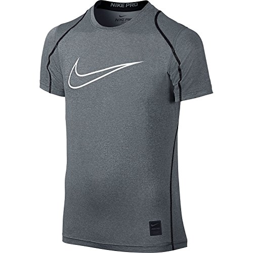 Nike Pro Cool HBR Fitted Boys' Short-Sleeve Top (Carbon Heather, M)