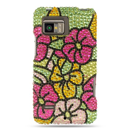HAWAIIAN FLOWERS Hard Plastic Bling Rhinestone Case for Motorola Droid Bionic / Targa [In Twisted Tech Retail Packaging]