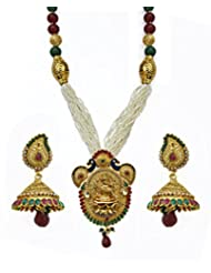 Jewelfin Lovely Peacock Design With Lakshmi Statue Temple Jewellery Necklace Set For Women