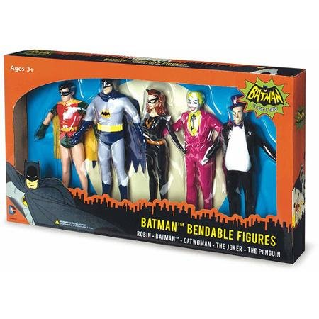 NJ Croce Batman Classic TV Series Bendable Boxed Set, Batman, Robin, Catwoman, The Joker and The Penguin for Age 3 Years and Up