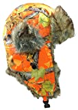 Dakota Dan Winter Trooper, Trapper, or Hunting Hat Faux Fur (Orange Camo)