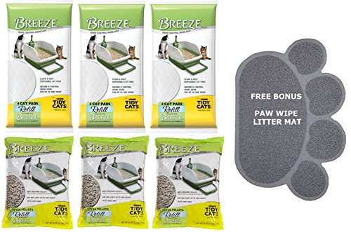 Pack of 3 - Tidy Cats Breeze Cat Litter Pellets - 3.5 lb (3-Pack of Pellets & 12-Pack of Pads Bundle) (Tidy Breeze Pellets compare prices)
