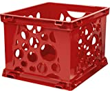 Storex Large Storage and Transport File Crate, 17.25 x 14.25 x 10.5 Inches, Red, Case of 6 (STX61564U06C)