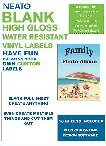 Blank Full Sheet Vinyl Labels - High Gloss - Water Resistant - 8.5