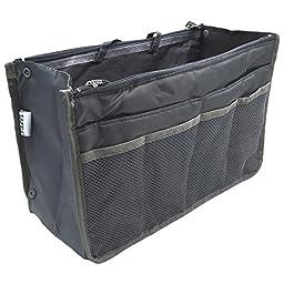 Tapp C. Multi-pocket Nylon Purse Insert Organizer - Large/Grey