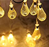 20 Bulb 7 Feet LED String Lights Water-Drop Shape Hollowed-Out Lamp Decorative