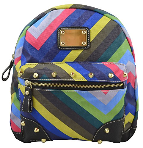 Fashion Girls Women's Multicolor Chevron Print Casual Mini Backpack (Ocean)