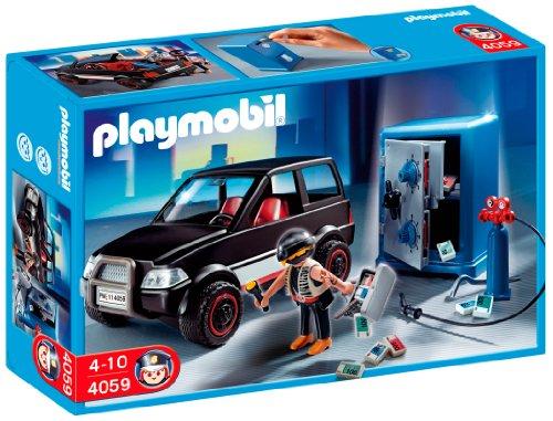 Imagen 3 de Playmobil Policía - Ladrón con caja fuerte y coche de huida (626564)