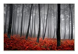 Autumn Canvas Print Framed 1 Panel Forest Tree Leaves Painting Art on Giclee Canvas Print