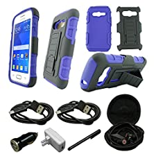 buy Mstechcorp - For Samsung Galaxy Ace 4 Lite G313Ml, Hybrid Advanced Armor Stand Case With Holster And Locking Belt Clip + [Wall Charger Data Cable] + [Car Charger Data Cable] + [Touch Screen Stylus] + [2 Data Cables] + [Hands Free Earphone] [Wall Charger D