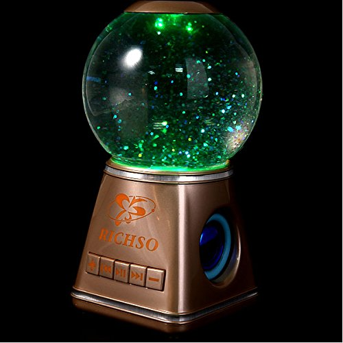 Tronfy® Fancy Mr-1 (Music Rasengan) - Portable Wireless Bluetooth Magic Crystal Ball Water Dancing Speaker, Luminous Colorful, Dual 4 Watt Driver (Golden)