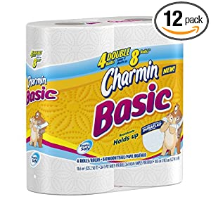 Charmin Basic Toilet Paper, 4 Count (Pack of 12)