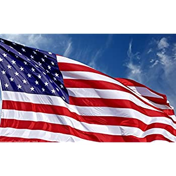 U.S. American Flag 3x5 + FREE Affiche. Made in USA. Bundled Product. Embroidered Stars Sewn Stripes. Sturdy Brass Grommets. Premium Nylon. 30% of Proceeds Donated to Families of Fallen Officers.