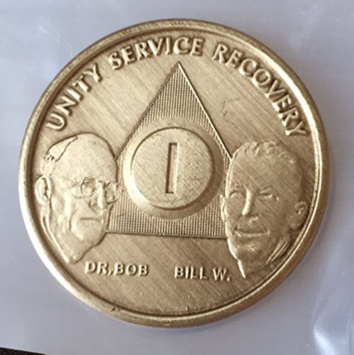 1 Year Bill & Bob Founders Edition Bronze AA (Alcoholics Anonymous) Birthday - Sober / Sobriety / Anniversary / Recovery / Medallion / Coin / Chip