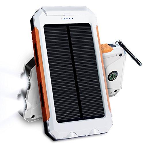 JETSUN 10000mAh 大容量ソーラーチャージャー モバイルバッテリー 2USBポート 羅針盤が付き 防水設計 二つの充電方法 旅行、キャンプの良品 iPhone / iPad / Nexus等対応 (白)