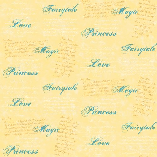 Imperial Disney Home DF059613 Princess Script Wallpaper, Yellow, 20.5-Inch Wide
