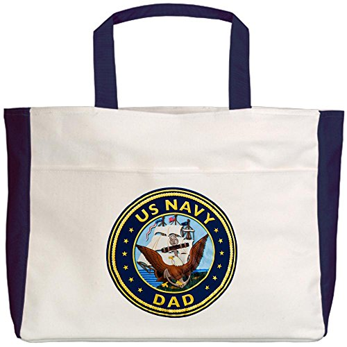 Royal Lion Beach Tote (2-Sided) US Navy Dad Bald Eagle Anchor Ship